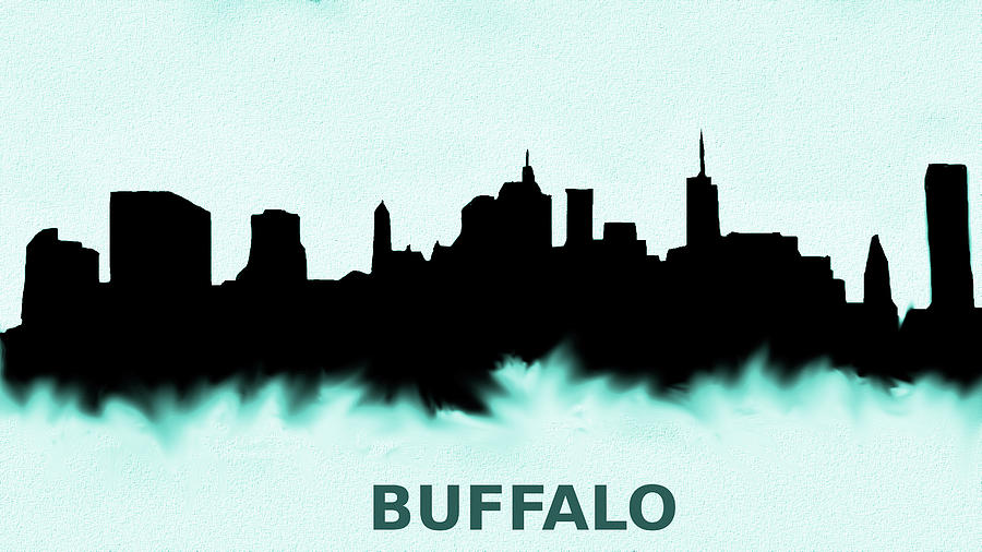 Buffalo New York Skyline Blue is a painting by Enki Art